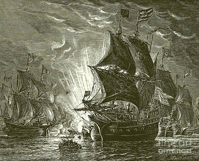 Harbor Drawing - Fire Ships Attacking The Spanish Armada by English School