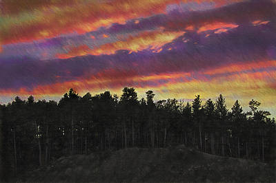 The Hills Mixed Media - Fire Sky - Mount Rushmore Environs by Steve Ohlsen