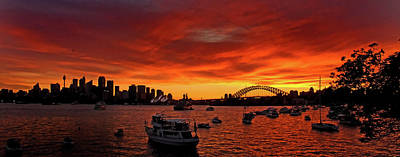 Photograph - Fire Sky Over Sydney Harbour by Miroslava Jurcik