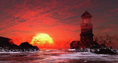 Lighthouse Digital Art - Fire Sky Sunset by John Junek