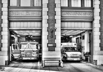 Photograph - Fire Station Number 46 Bw by Mel Steinhauer