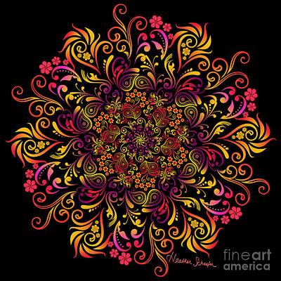 Digital Art - Fire Swirl Flower by Heather Schaefer
