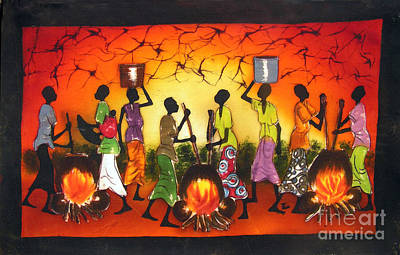 African Village Scene Painting - Fire by Ted Samuel Mkoweka