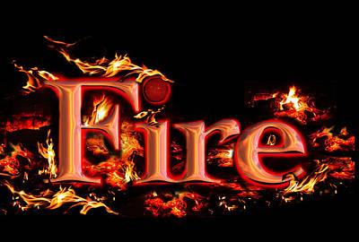 Digital Art - Fire Title by Alma