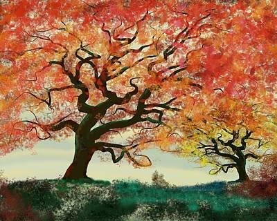 Digital Art - Fire Tree by Victor Shelley