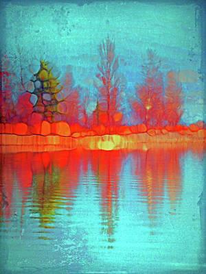 Fire Trees At The Lake Art Print