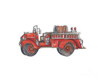 Fire Truck Painting - Fire Truck by Annie Laurie