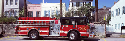 Fire Engine Photograph - Fire Truck On The Road, Charleston by Panoramic Images