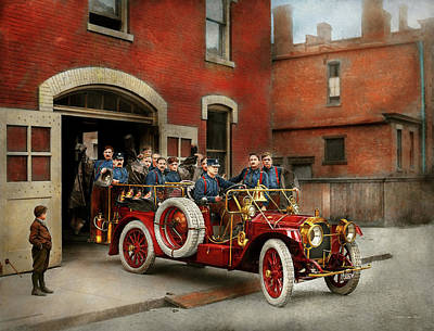 Fire Truck - The Flying Squadron 1911 Art Print by Mike Savad