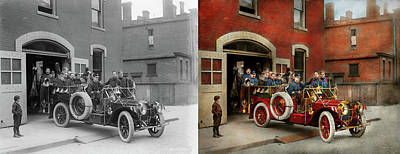 Photograph - Fire Truck - The Flying Squadron 1911 - Side By Side by Mike Savad