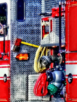 Photograph - Fire Truck With Hoses And Ax by Susan Savad
