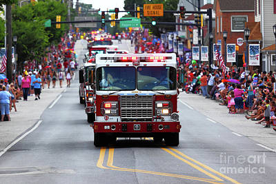 Photograph - Fire Trucks At Independence Day 4th July Parade by James Brunker