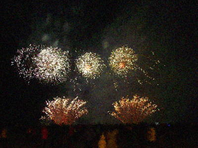 Photograph - Fire Works Show Stippled Paint 5 Canada by Dawn Hay