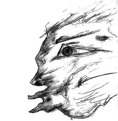 Drawing - Fireball Face by Matt Harang