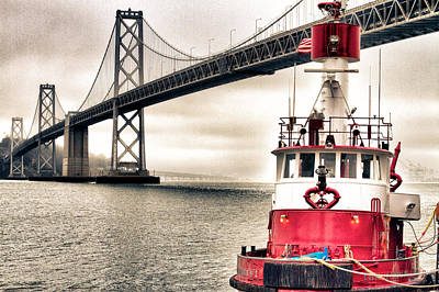 Fireboat Photograph - Fireboat And Bay Bridge Hdr by Jarrod Erbe