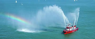 Photograph - Fireboat Salute Mug Shot by John M Bailey