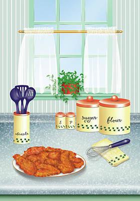 Digital Art - Fried Chicken by Linda Carruth