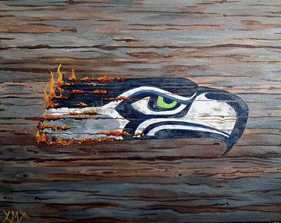 Seattle Seahawks Painting - Fired Up by Xochi Hughes Madera