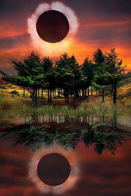 Photograph - Firefall Eclipse by Debra and Dave Vanderlaan