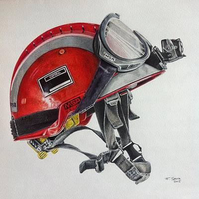 Drawing - Firefighter Helmet by Ferran Serra