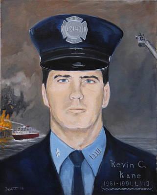 Fire Gear Painting - Firefighter Kevin Kane Memorial  by Mark Barrett