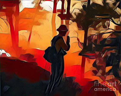 Firefighter On White Draw Fire Art Print