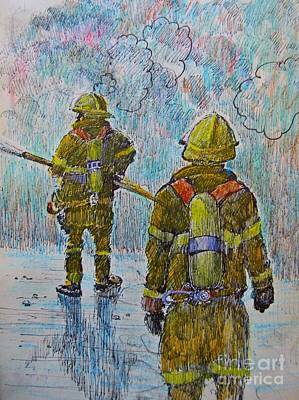 Firefighters In Action Art Print by John Malone