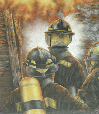 Fire Gear Painting - Firefighters by Linda  Medders-Jackson