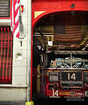 Photograph - Firefighters Of New York - Engine Sweet 14 - Closeup by Miriam Danar