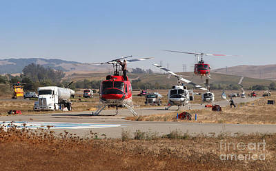 Photograph - Firefighting Helicopters, Sonoma County Fires, Petaluma California  2017 by Wernher Krutein