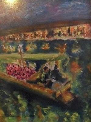 Painting - Fireflies Boat by Wanvisa Klawklean