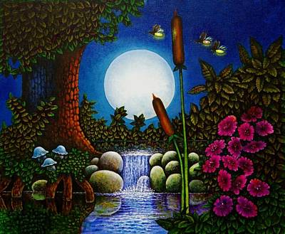 Art Print featuring the painting Fireflies by Michael Frank