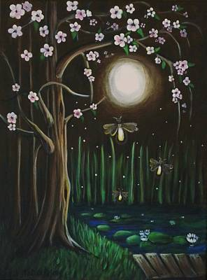 Youthful Painting - Fireflies Of Our Youth by Teresa Pascos