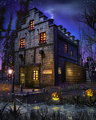 Gothic Mixed Media - Firefly Inn by Joel Payne