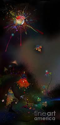 Mushroom Digital Art - Firefly Me To The Moon by Bernie  Lee