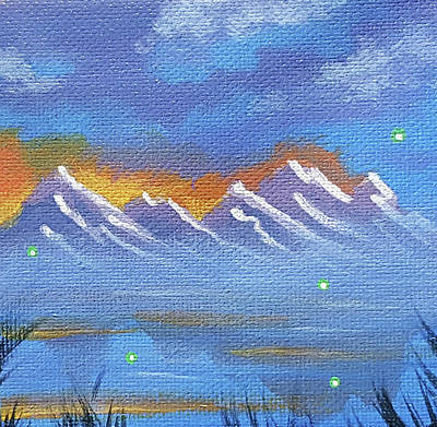 Painting - Firefly Mountain 3 by JJ Long