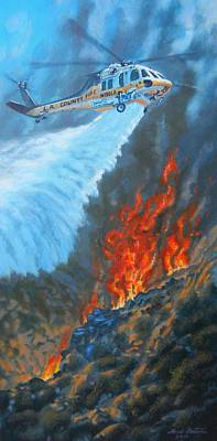 Blackhawk Painting - Firehawk Attacks by Mark Pestana