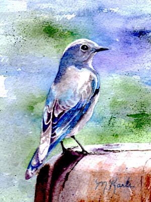 Painting - Firehole Bridge Bluebird - Female by Marsha Karle