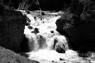 Firehole Falls Torrent Into Firehole River In Yellowstone National Park Black And White Art Print by Shawn O'Brien