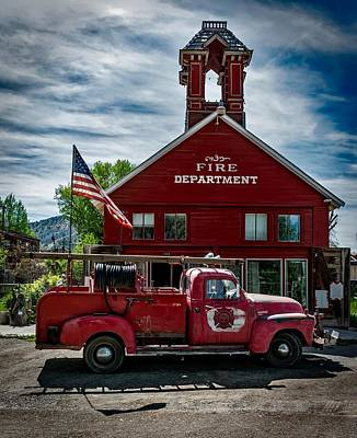 Photograph - Firehouse And Vintage Firetruck  by Mountain Dreams