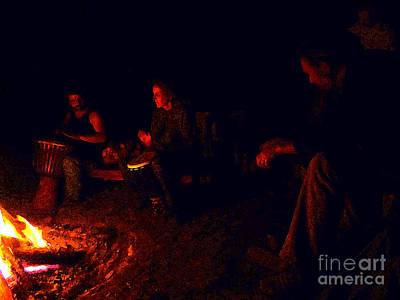 Firelight Drumming Art Print by JoAnn SkyWatcher