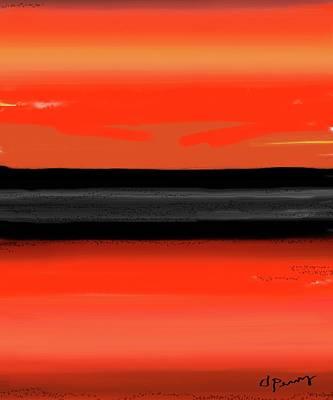 Abstract Beach Landscape Digital Art - Firelit by D Perry