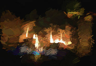 Digital Art - Firelogs Impasto by Aliceann Carlton