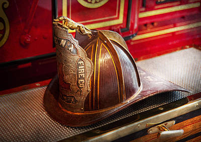 Photograph - Fireman - Hat - Commander  by Mike Savad