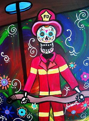 Fireman Dia De Los Muertos Art Print by Pristine Cartera Turkus