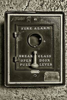 Photograph - Fireman-fire Alarm Box Break Glass In Black And White by Paul Ward