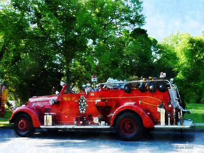 Fireman - Fire Engine Art Print by Susan Savad