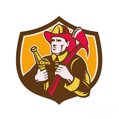 Fireman Firefighter  Axe Hose Crest Woodcut Art Print by Aloysius Patrimonio