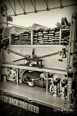 Photograph - Fireman-keep Back 300 Feet Black And White by Paul Ward