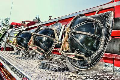 Photograph - Fireman-nice Helmets by Paul Ward